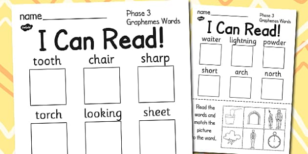 I Can Read Words Combination Two Phase 3 Graphemes Activity Sheet, worksheet