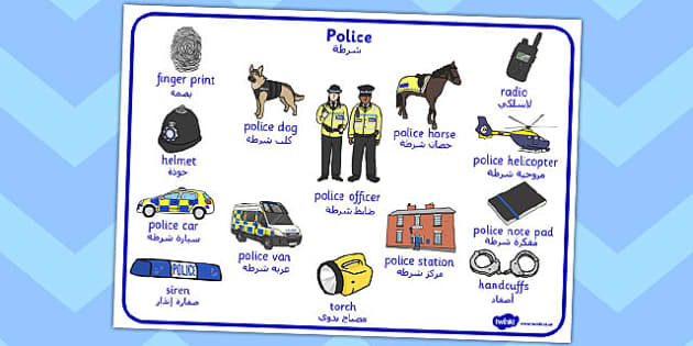 Police Word Mat Arabic Translation - arabic, police, word mat, word, mat