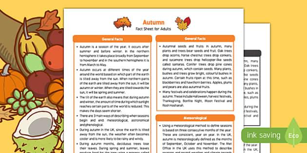 Autumn Fact Sheet for Adults - EYFS, Early Years, KS1, seasons, hibernation, leaves, hedgehog