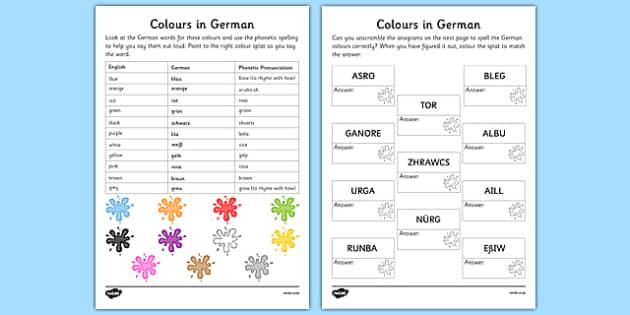 German Colours Worksheet - german, colours, worksheet, languages, german language