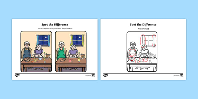 The Elves and the Shoemaker Spot the Difference Activity - elves