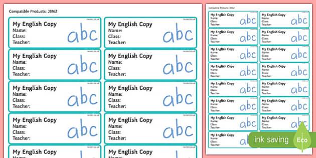 Pupil English Copybook Labels-Irish