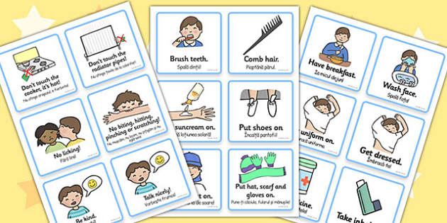 Communication Cards Daily Routine Boy Romanian Translation - romanian