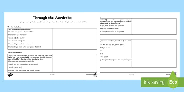 Through the Wardrobe Creative Writing Planning Activity Sheet - Narnia, planning, story plan, imaginative, creative, descriptive, literacy, creating texts, workshee