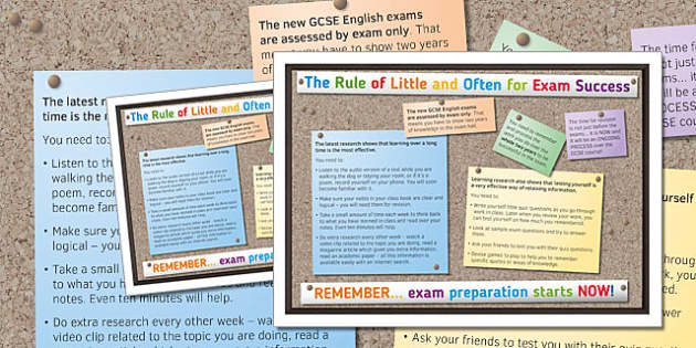 The Rule of Little and Often Exam Success Poster - little, often, exam, success