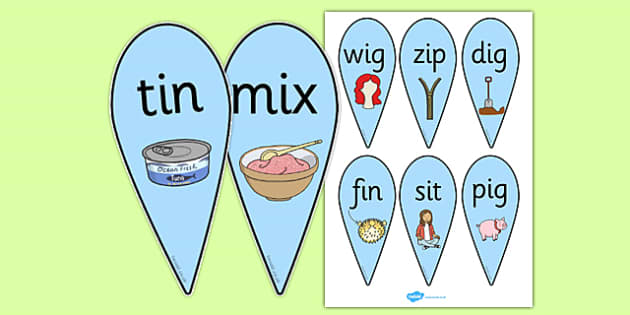 CVC Word Fans (I) - CVC, CVC word, fan, fans, three phoneme words, three sound words, consonant vowel consonant, words, three letter words, letters and sounds, DfES letters and sounds