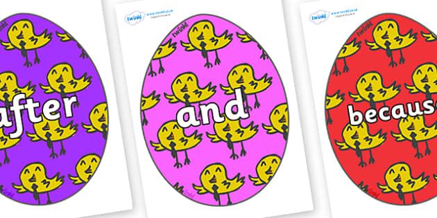 Connectives on Easter Eggs (Chicks) - Connectives, VCOP, connective resources, connectives display words, connective displays