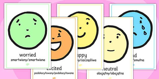 Emotion A4 Face Display Posters Polish Translation - polish, emotion