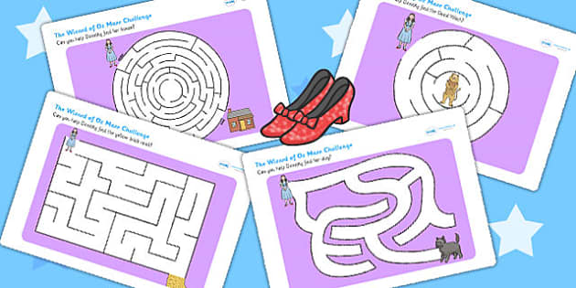 The Wizard of Oz Differentiated Maze Activity Sheet Pack - mazes, worksheet