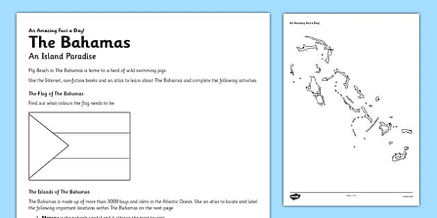 The Bahamas: An Island Paradise Activity Sheet - bahamas, island, paradise, activity, worksheet