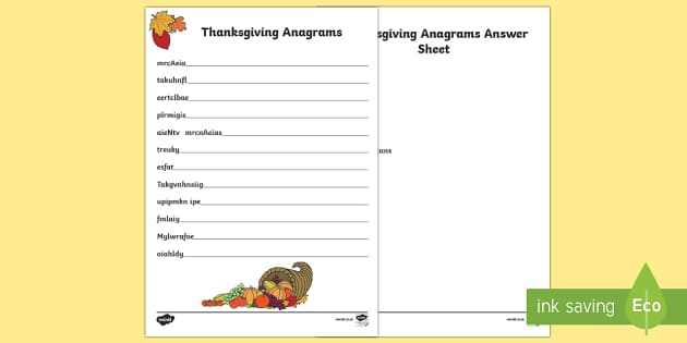 Thanksgiving Anagrams Activity Sheet