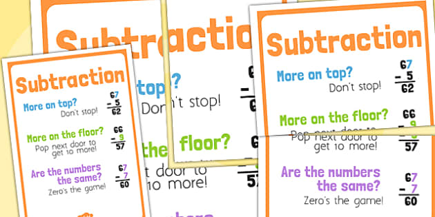 Subtraction Poem Poster - subtract, take away, numeracy display