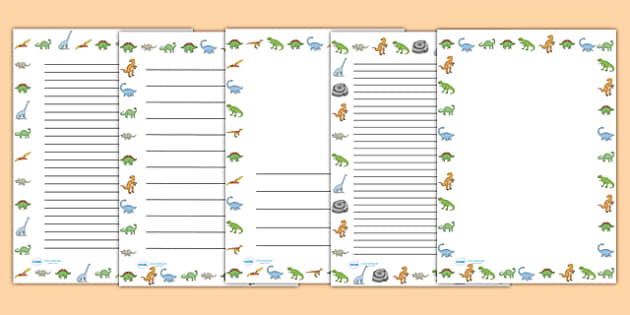 Dinosaurs Page Borders Dinosaur page border a4 border – Border Paper Template
