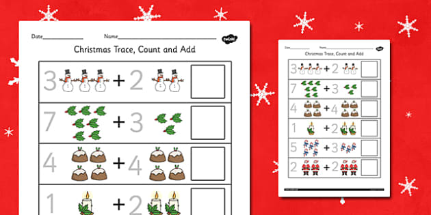 Christmas Trace Count and Add Activity Sheet - worksheets, counting