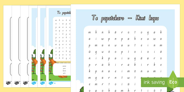 Te papatakaro Differentiated Word Search - papatakaro, playground, te reo maori, word search