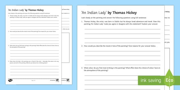 An Indian Lady Art Appreciation Activity Sheet - Irish Art Resources, art strands, display resources, art appreciation, worksheet, activity sheet, ar