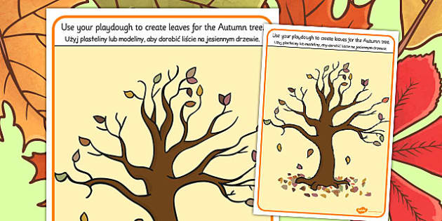 Autumn Tree Playdough Mat Polish Translation - polish, autumn
