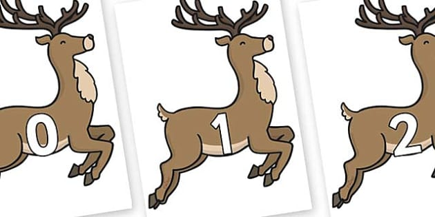 Numbers 0-50 on Reindeer - 0-50, foundation stage numeracy, Number recognition, Number flashcards, counting, number frieze, Display numbers, number posters