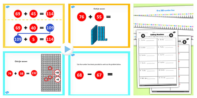 Year 2 Adding 2 2 Digit Numbers Crossing 100 and 10 Lesson Pack