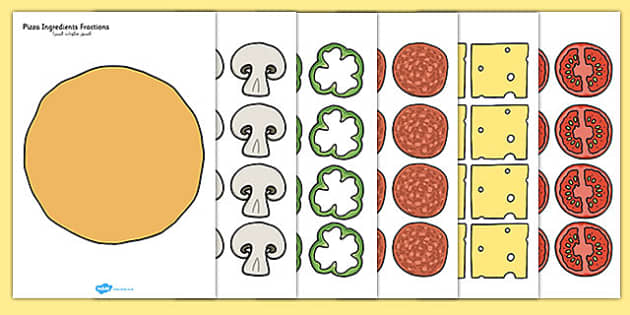 Pizza Ingredients Fractions Arabic Translation - arabic, fraction, food, maths, numeracy