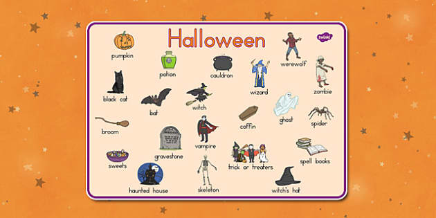 Halloween Word Mat - english, language, visual aid, ks1, ks2, key stage 1, key stage 2