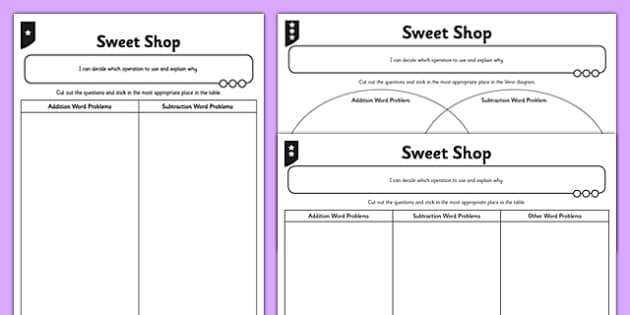 Year 5 Sweet Shop Choose the Correct Operation Activity Pack - addition, subtraction, add, subtract, one step, two step, problem, problem solving, choose, operation, sort
