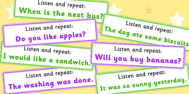 Listen and Repeat 4-5 Word Length Sentence Cards Set 2 - listen