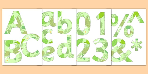 Paper Saving Garden Themed Display Alphabet Numbers Symbols