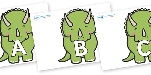 A-Z Alphabet on Triceratops Dinosaurs - A-Z, A4, display, Alphabet frieze, Display letters, Letter posters, A-Z letters, Alphabet flashcards