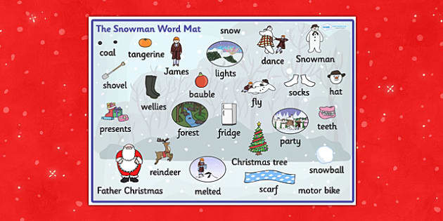 Word Mat to Support Teaching on The Snowman - word mat, writing aid, mat, the snowman, book, childrens book, story, the snowman story, snowman word mat, words, key words, words on a mat, literacy, learning aid