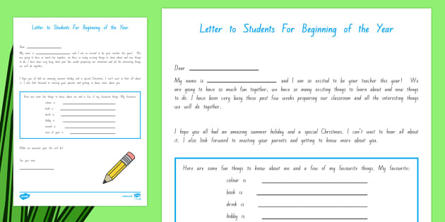Back to School Teacher to Student Letter