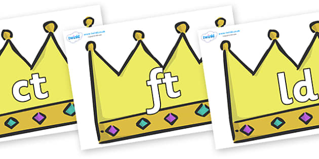 Final Letter Blends on Crowns (Plain) - Final Letters, final letter, letter blend, letter blends, consonant, consonants, digraph, trigraph, literacy, alphabet, letters, foundation stage literacy