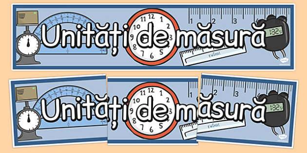 Unitati de masura, Banner - matematica - Length, time, weight, mass