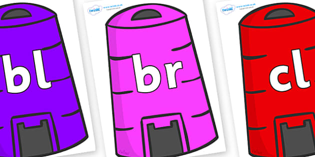 Initial Letter Blends on Recycling Bins - Initial Letters, initial letter, letter blend, letter blends, consonant, consonants, digraph, trigraph, literacy, alphabet, letters, foundation stage literacy