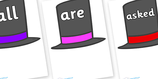 Tricky Words on Top Hats - Tricky words, DfES Letters and Sounds, Letters and sounds, display, words