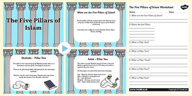 The Five Pillars of Islam PowerPoint and Worksheet Pack - islam, the five pillars of islam, the file pillars of islam powerpoint, religion powerpoint, RE