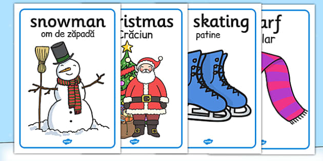 Winter Topic Display Posters EAL Romanian Translation - romanian