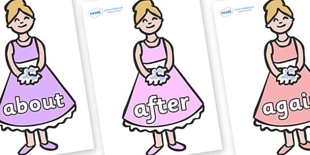 KS1 Keywords on Bridesmaids - KS1, CLL, Communication language and literacy, Display, Key words, high frequency words, foundation stage literacy, DfES Letters and Sounds, Letters and Sounds, spelling