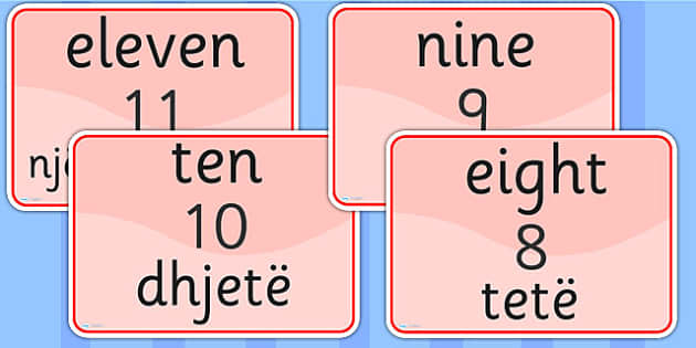 Number Signs EAL Albanian Version - numbers, EAL signs, albanian
