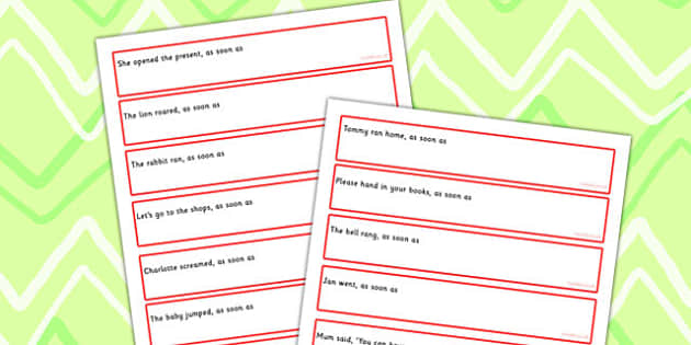 Sentence Starters With As Soon As Complete The Sentence Activity