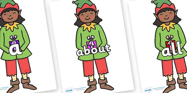 100 High Frequency Words on Elves - High frequency words, hfw, DfES Letters and Sounds, Letters and Sounds, display words