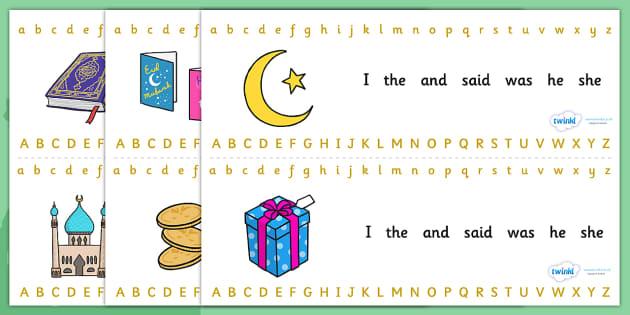 Eid Alphabet Strips-eid, alphabet, alphabet strips, eid themed alphabet, letters, islam, religion, RE, islam alphabet, islam themed, eid theme