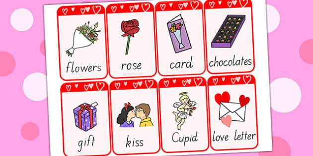 Valentine's Day Flashcards - valentines day, visual aid, flashcard