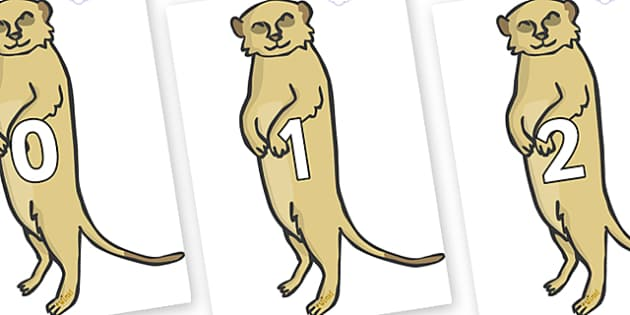 Numbers 0-50 on Meerkats - 0-50, foundation stage numeracy, Number recognition, Number flashcards, counting, number frieze, Display numbers, number posters