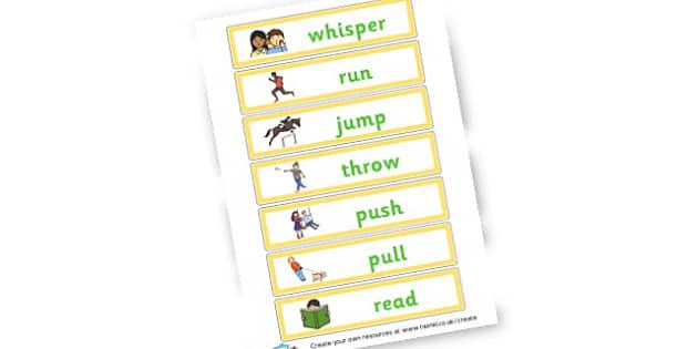 Verb Flashcards - Verb Primary Resources, verbs, noun, adjective, wow, keywords