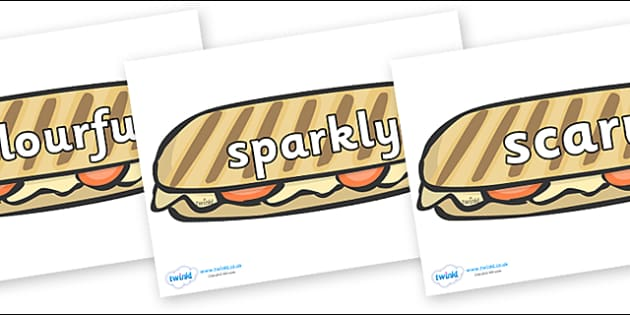 Wow Words on Paninis - Wow words, adjectives, VCOP, describing, Wow, display, poster, wow display, tasty, scary, ugly, beautiful, colourful sharp, bouncy