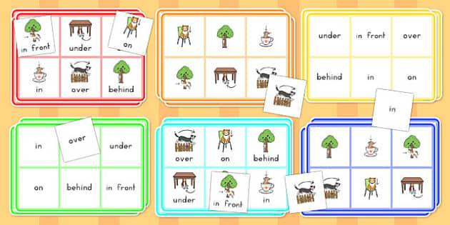 Preposition Bingo - position, poisitional, language, prepositions, direction, bingo, game, activity, shape, space, measure