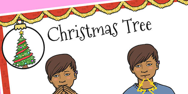 A4 British Sign Language Sign for Christmas Tree - sign, tree