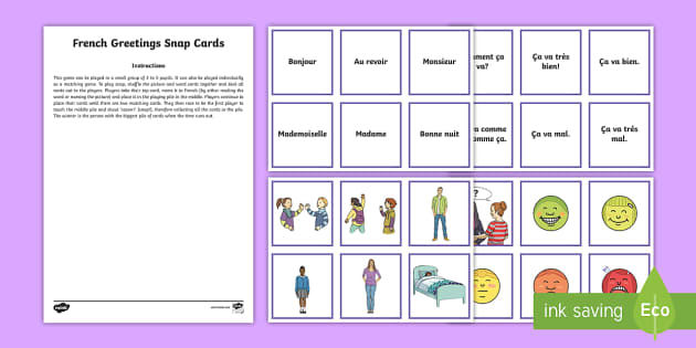 Greetings Snap Card Game French - French Games, French snap, French greetings, French emotions, French phrases, snap,Scottish