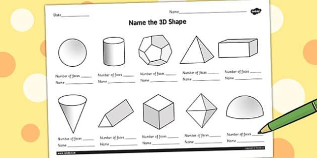 Name the 3D Shape Year 6 Worksheet - worksheet, 3d, shape, year 6